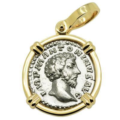 Marcus Aurelius denarius coin in gold pendant