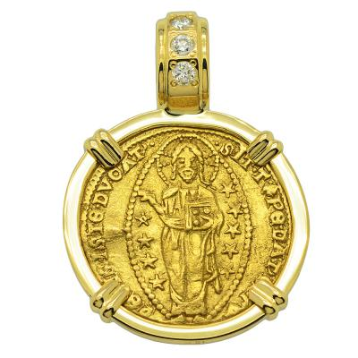 Jesus Christ ducat in 18k gold pendant with diamonds
