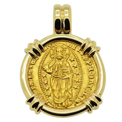 1400-1413 Jesus Christ ducat in gold pendant