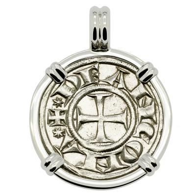 1280-1320, Cross Pattee coin in white gold pendant