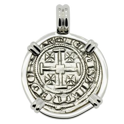 1324-1340 Cyprus Crusader coin in 14k white gold pendant
