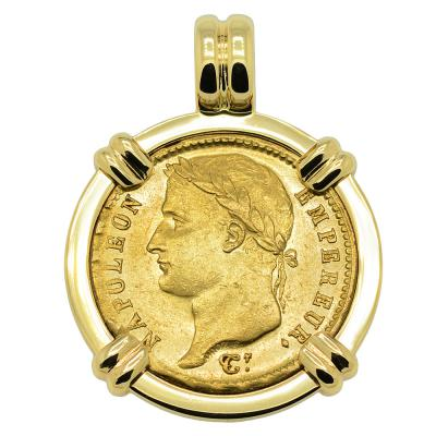 1808 Napoleon 20 Francs coin in gold pendant
