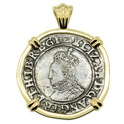 1595-1598 Elizabeth I shilling in gold pendant