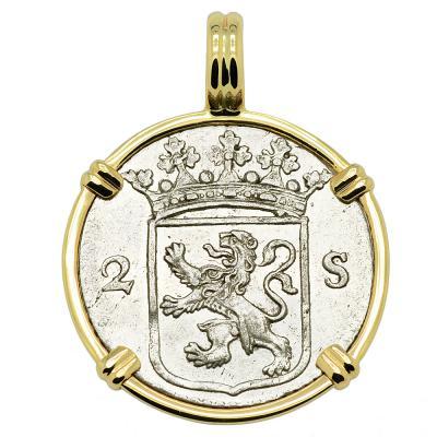 1785 Dutch 2 stuivers in gold pendant
