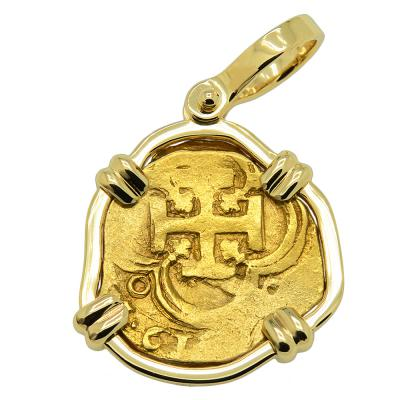 1619 Spanish Doubloon in gold pendant