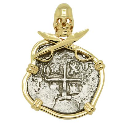 1714 Spanish coin in gold Pirate pendant