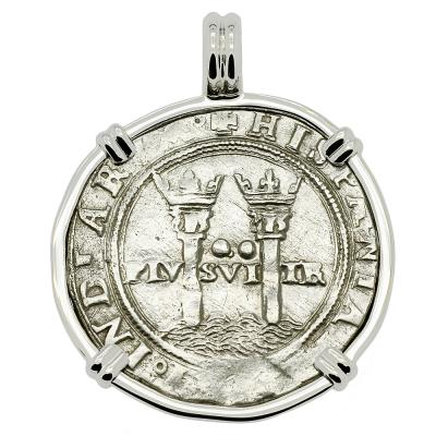 1548-1553 Spanish Mexico coin in white gold pendant