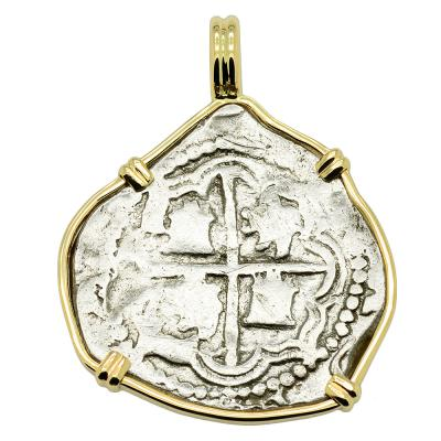 1589-1598 Spanish 2 reales coin in gold pendant