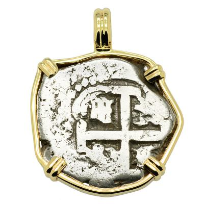 1741 Spanish coin in gold pendant