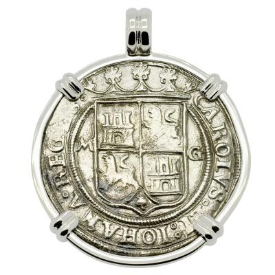 Golden Fleece Shipwreck coin in white gold pendant