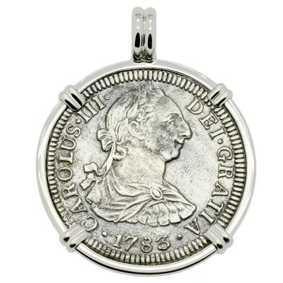1783 El Cazador Shipwreck coin in white gold pendant