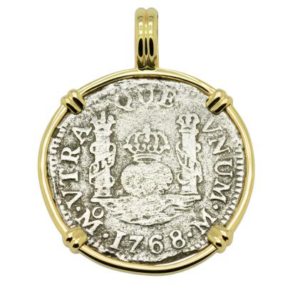 1768 El Cazador Shipwreck Pillar coin in gold pendant