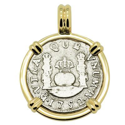 1752 El Cazador Shipwreck Pillar coin in gold pendant