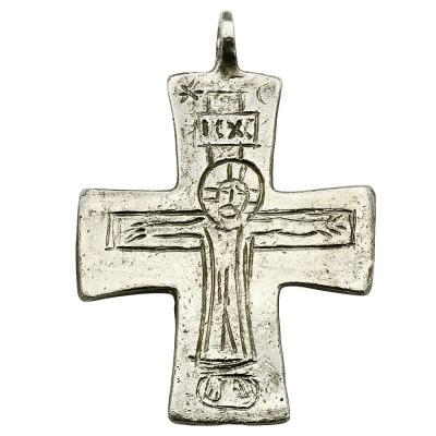 Byzantine Jesus Christ engraved silver cross