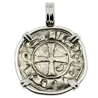 1163 -1188 Antioch Crusader Cross Coin in white Gold Pendant