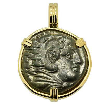 336-323 BC, Alexander the Great bronze coin in gold Pendant