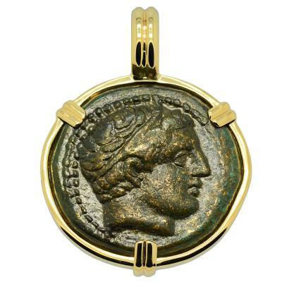 359-336 BC Philip II Apollo bronze coin in gold pendant