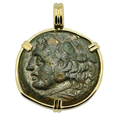 278-276 BC Hercules bronze coin in gold pendant
