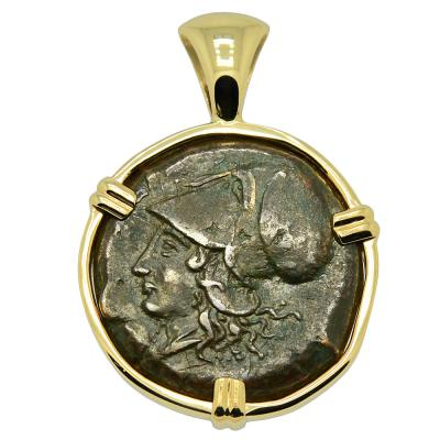 405-367 BC Athena bronze coin in gold pendant