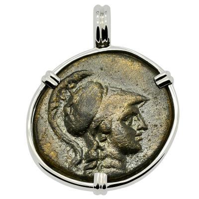 133-48 BC Athena bronze coin in white gold pendant