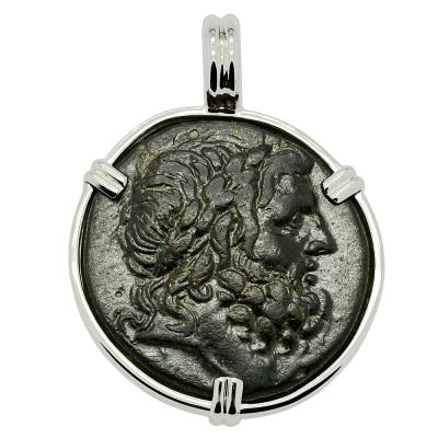 133-48 BC, Zeus bronze coin in white gold pendant