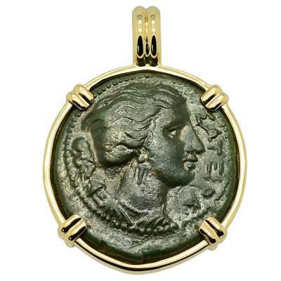 Greek 317-289 BC Artemis coin in gold pendant