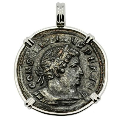 Constantine the Great coin in white gold pendant