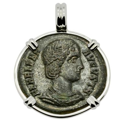 AD 325–326 Saint Helena coin in white gold pendant
