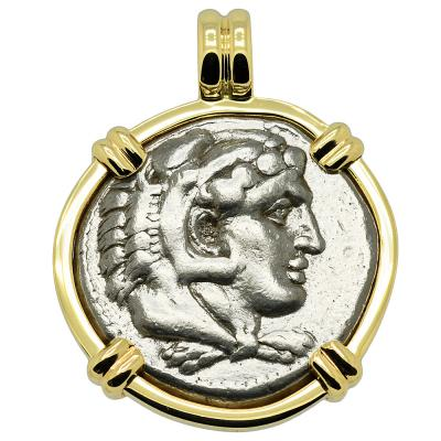 332-323 BC Alexander the Great tetradrachm in gold pendant
