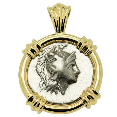 272-240 BC Athena drachm coin in gold pendant