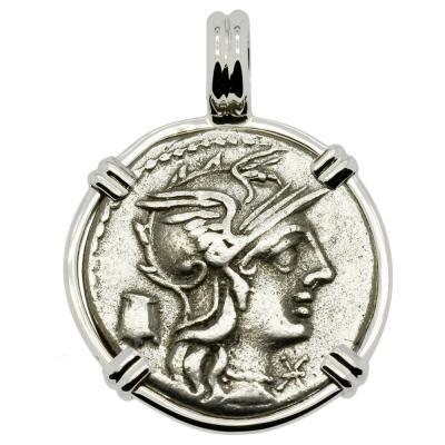 134 BC Roma denarius coin in white gold pendant