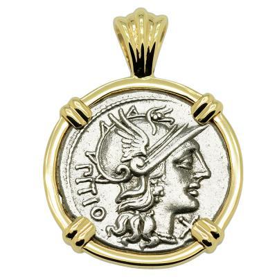148 BC Roma denarius coin in gold pendant
