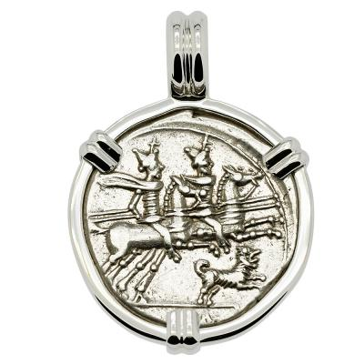 146 BC Dioscuri on horseback coin in white gold pendant