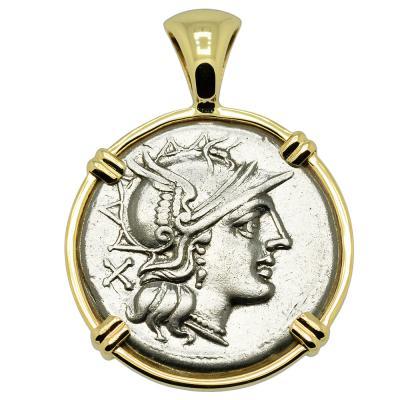 154 BC Roma denarius coin in gold pendant