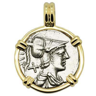 137 BC Mars denarius coin in gold pendant