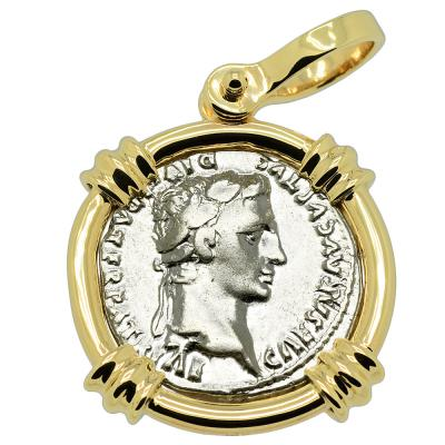 Roman Caesar Augustus coin in gold pendant