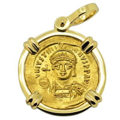 Justinian the Great coin in 18k gold pendant