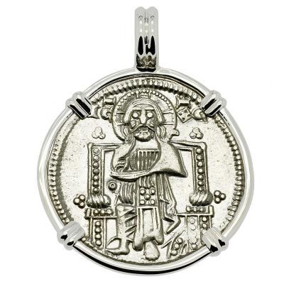 1329-1339, Jesus Christ grosso in white gold pendant
