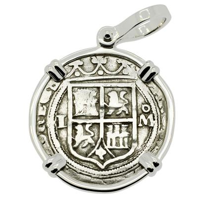 1548-1553 Spanish 1 real coin in white gold pendant