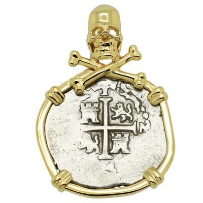 1694 Spanish 1 Real coin in gold pirate pendant