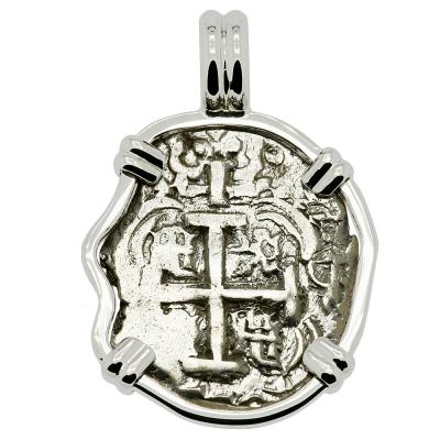 1748 Spanish cob coin in white gold pendant
