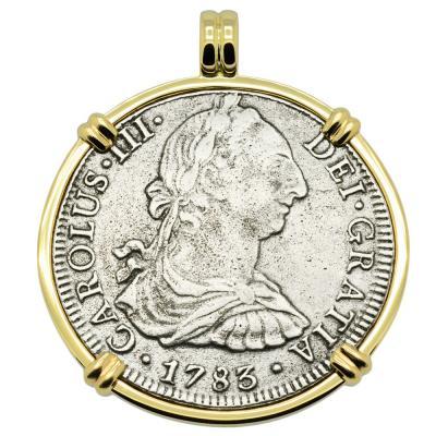 1783 El Cazador piece of eight gold pendant
