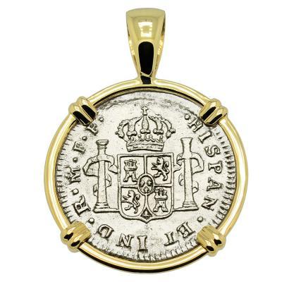 1779 El Cazador Shipwreck coin in gold pendant