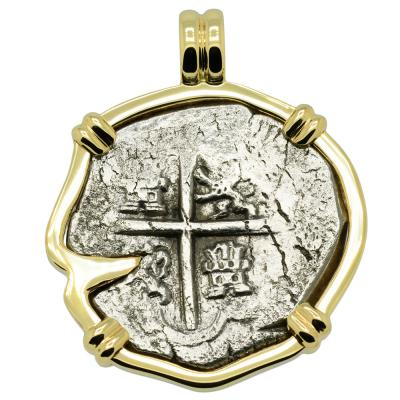 1622 Sao Jose Shipwreck Coin in gold pendant