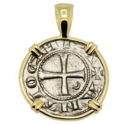 1163 -1188 Antioch Crusader Cross Coin in gold Pendant