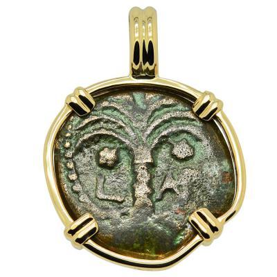 Biblical Widow's Mite in gold pendant