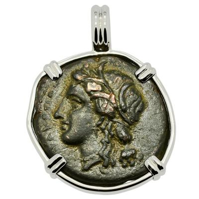 Syracuse 289-287 BC Persephone coin in white gold pendant