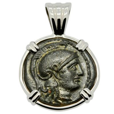 305-281 BC Athena bronze coin in white gold pendant