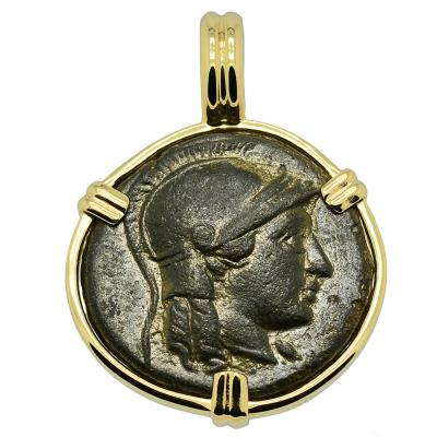 246-241 BC Athena bronze coin in gold pendant