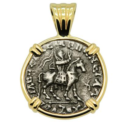 35-12 BC King Azes II horseman coin in gold pendant
